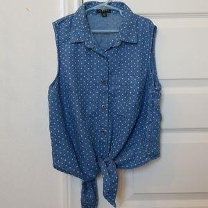 Short sleeved denim button up